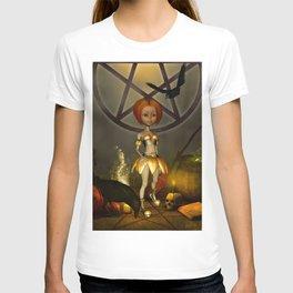 Halloween design with pumpkin,crow and little girl T-shirt