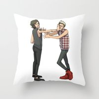 nope Throw Pillows featuring Nope. by Ashley R. Guillory