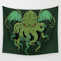 cthulhu Wall Tapestries featuring Cthulhu by missmonster