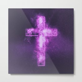 Christian cross symbol. Abstract night sky background. Metal Print