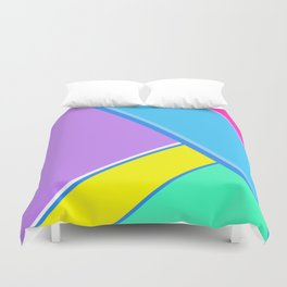 Happy Hues Modern Colorblock Pattern - Unicorns Frolic Duvet Cover