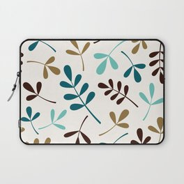 Assorted Leaf Silhouettes Teals Brown Gold Cream Laptop Sleeve