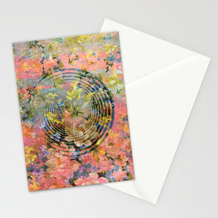 406 4 Floral Target Stationery Cards