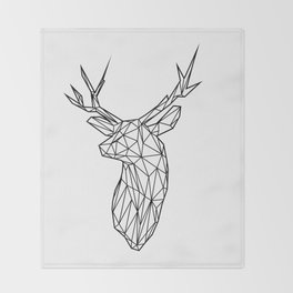 Black Line Faceted Stag Trophy Head Throw Blanket