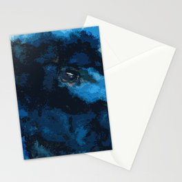 Blue and black bird ink painting Stationery Cards