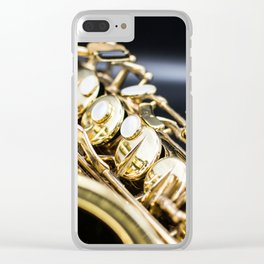 Alto saxophone black background Clear iPhone Case