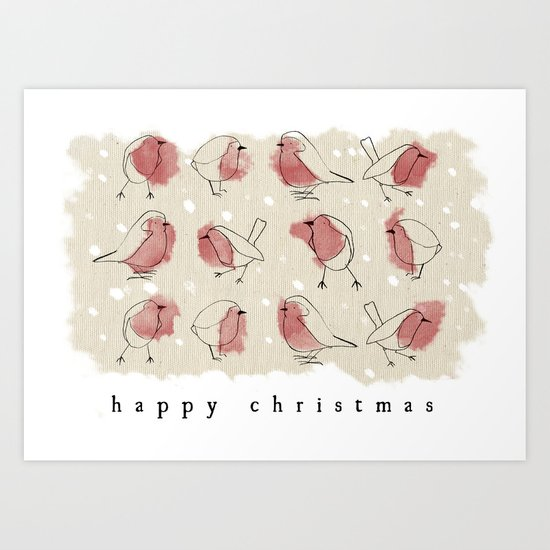 Robin Christmas Card Art Print