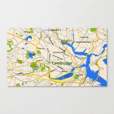 Map of Cambridge, MA, USA Canvas Print