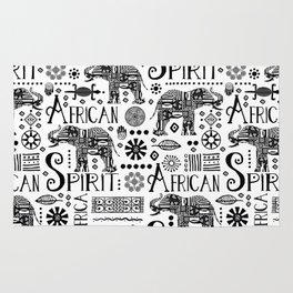 Africa Style Elephant Black And White Tribal Pattern Rug