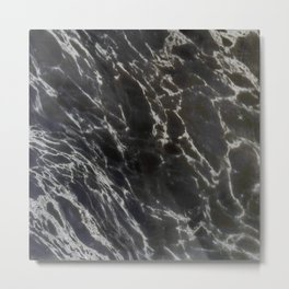 MIDNIGHT BLACK MARBLE Metal Print