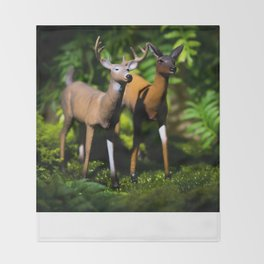 Buck and Doe Deer in the Forest Throw Blanket