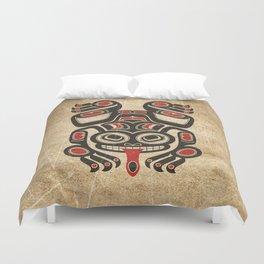 Red and Black Haida Spirit Tree Frog Duvet Cover