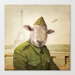 Private Leonard Lamb visits Paris Canvas Print