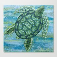 sea turtle Canvas Prints featuring turtle by Brittany Rae