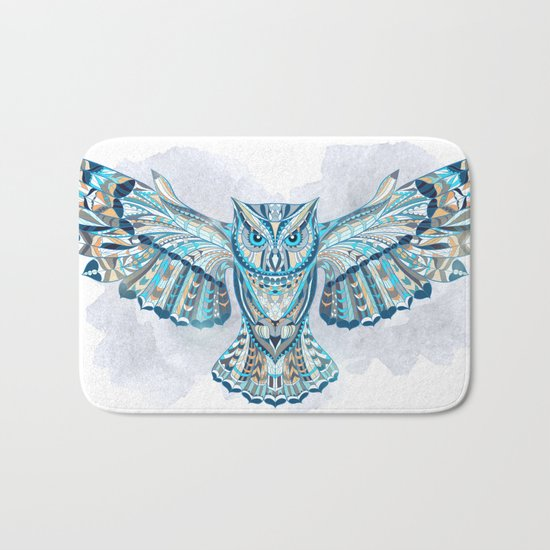 Blue Ethnic Owl Bath Mat