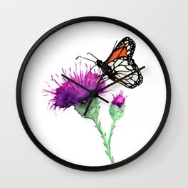 Monarch and Milk Thistle Wall Clock