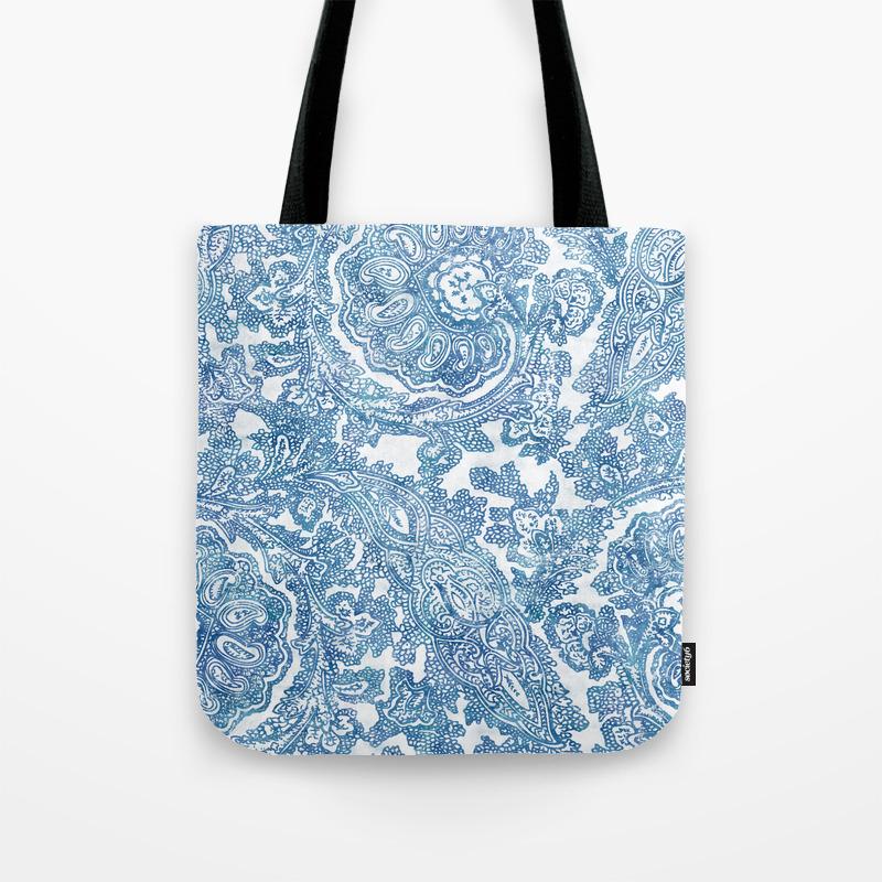 3c94285e0eb Blue Boho Paisley Pattern II Tote Bag