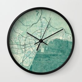 Malaga Map Blue Vintage Wall Clock