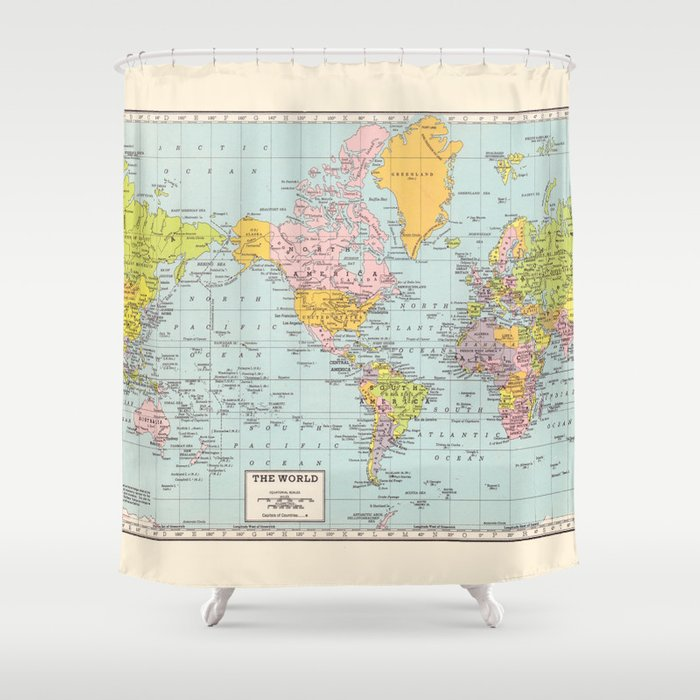 World Map Shower Curtain By Catherineholcombe