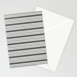 Pantone Pewter Gray & White Thick and Thin Horizontal Lines Bold Stripe Pattern Stationery Cards