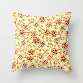 Candy Apple Blossom Yellow Throw Pillow