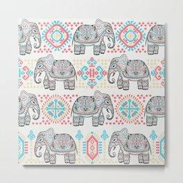 Elephant Parade,  Boho Pattern Metal Print