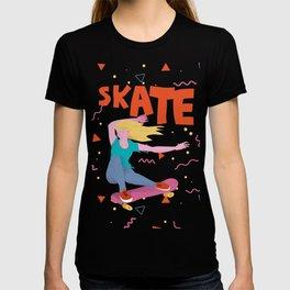 Girl with golden hair on pink skateboard. T-shirt