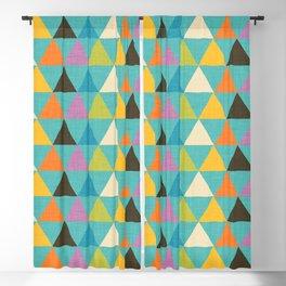 Retro Color Block Triangle Light Blue Blackout Curtain