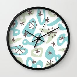Retro Mid Century Modern Spaced Out Composition 332 Wall Clock