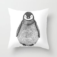 penguin Throw Pillows featuring penguin by barmalisiRTB