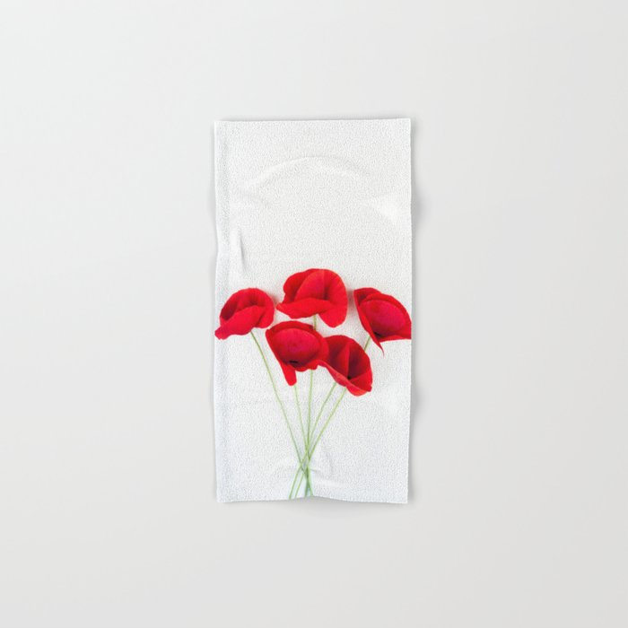 a Bunch Of Red Poppies Hand & Bath Towel