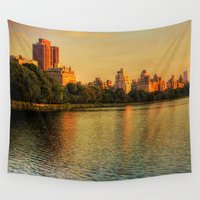 central park Wall Tapestries featuring New York Central Park by Esra Meral Demircan