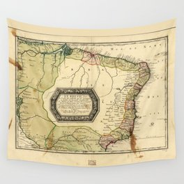 Le Bresil (Map of Brazil circa 1656) Wall Tapestry