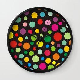 Colorful polka dots on black Wall Clock