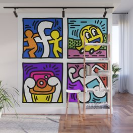 Apps icon graffiti Keith Haring style Wall Mural