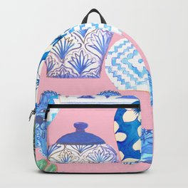 Chinoiserie Chic, Chinese ginger jars on pale pink Backpack