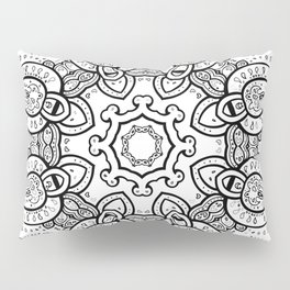 White Gray Black Paisley Mandala Pillow Sham