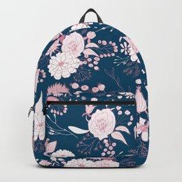 Elegant mauve pink white navy blue rustic floral Backpack