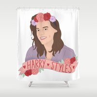 harry styles Shower Curtains featuring Harry Styles ♥ by worksbeautifully