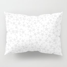 Block Print Silver-Gray and White Stars Pattern Pillow Sham