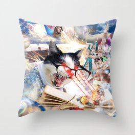 Laser Cat Librarian In Space Throw Pillow