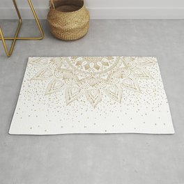 Elegant Gold Mandala Confetti Design Rug
