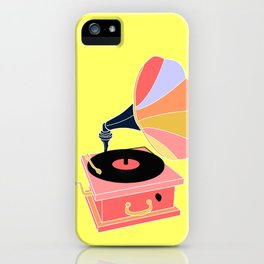 Multicolor Gramophone on Pale yellow Home Decor Room Furnishing Contemporary Wall Graphic Design  iPhone Case