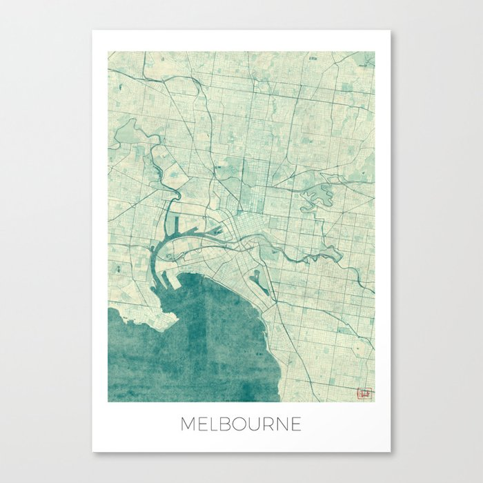 Melbourne map blue vintage canvas print by hubertroguski society6 melbourne map blue vintage canvas print gumiabroncs Gallery