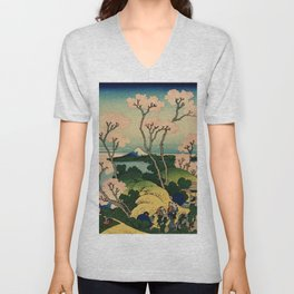 """Hokusai (1760–1849) """"Goten-yama-hill, Shinagawa on the Tōkaidō"""" Unisex V-Neck"""
