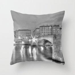 Bonaparte bridge in Lyon, France - hdr b&w Throw Pillow