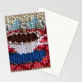 rain in my tea, rain in my coffee, tapestry, weaving, knitting, tea, coffee, tea cup, yarn, rain, Stationery Cards