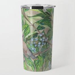 Cedar Waxwings bird and berries Travel Mug