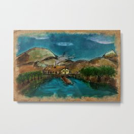 The House between Mountains and Lake Metal Print