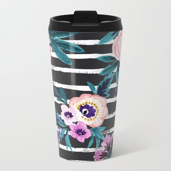 Victoria Floral Stripe Black Metal Travel Mug